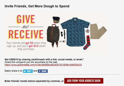 JackThreads referral program example