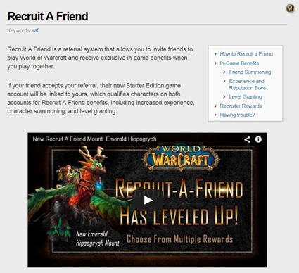 world of warcraft refer a friend program example